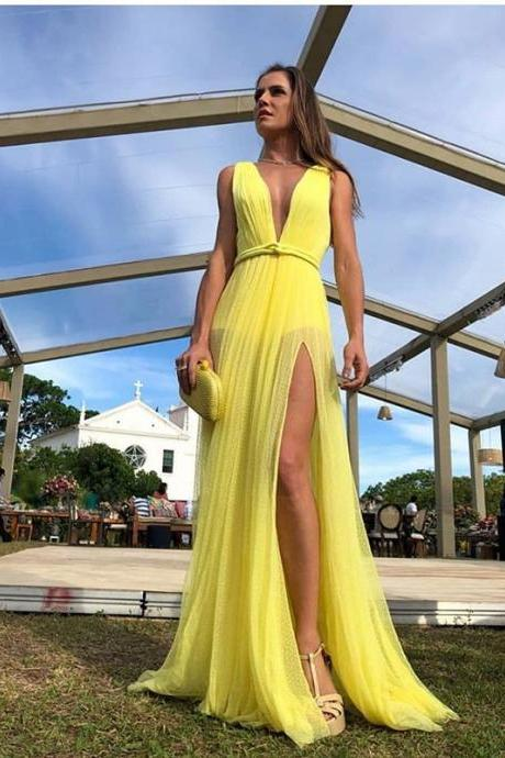 Yellow Prom Dresses,Sexy Slit Prom Gown,Fashion Yellow Slit Evening Party Dress