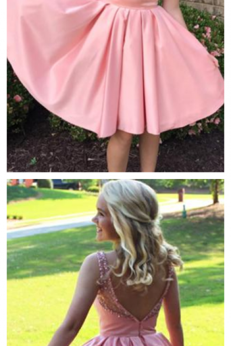 Simple A-Line Bateau Knee-Length Pink Satin Sleeveless Homecoming Dress with Beading