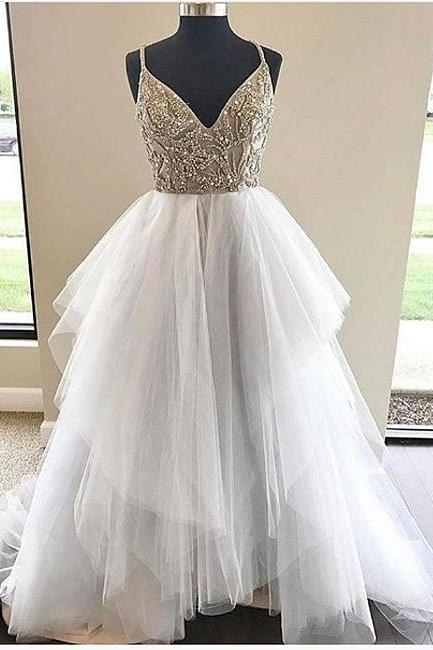 A-Line V-Neck Spaghetti Straps Tulle Long Wedding Dress With Beading,Long Wedding Dress ,spaghetti straps Wedding Dresses