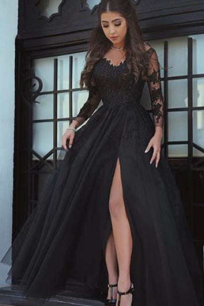 Long Sleeve Lace Prom Dress, Black Long Prom Dress, Split Side Stain Evening Dress