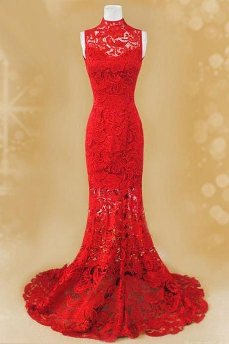 Red Lace Prom Dress, Mermaid Prom Dress, High Neck Prom Dress,Cheap Prom Dress, Fashion Party Dress,Prom Dresses