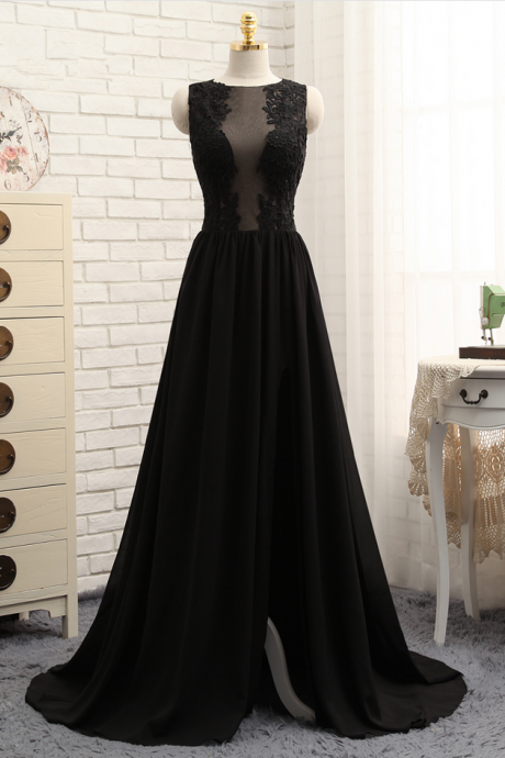 Prom Dresses A-line Black Chiffon Appliques Lace Sexy Long Prom Gown Evening Dresses Evening Gown