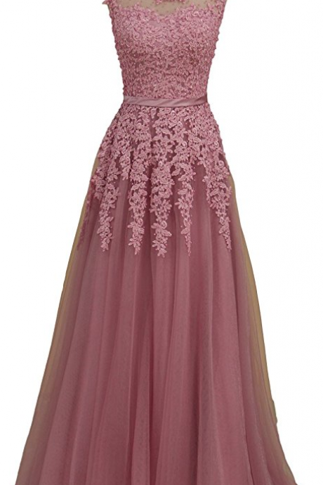 Prom Dresses Scoop A Line Tulle Floor Length Evening Gowns