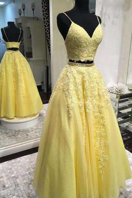 Yellow Tulle Lace V Neck Prom Dresses,Two Pieces Open Back Long Prom Dress, Homecoming Dress