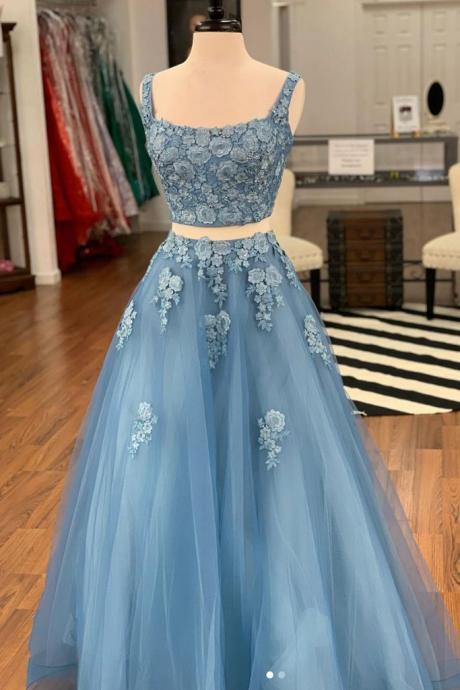 Blue Tulle Two Pieces Long Lace Prom Dress, Homecoming Dress