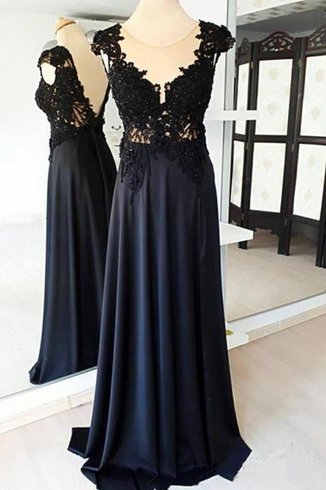 Black Lace Cap Sleeve Long Formal Prom Dress, Evening Dress