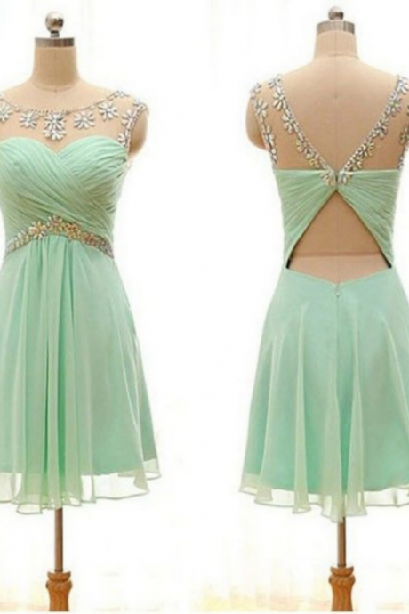 A-line Homecoming Dresses, Sleeveless Jewel Knee-length Homecoming Dress,Beading Outlet Zipper Dresses