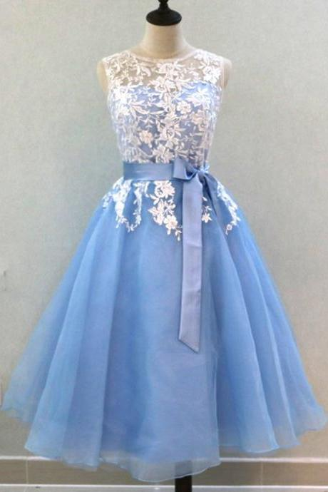 Light Blue Tulle Mid Length Lace Bridesmaid Dress, Prom Dress,Bridesmaid Dresses