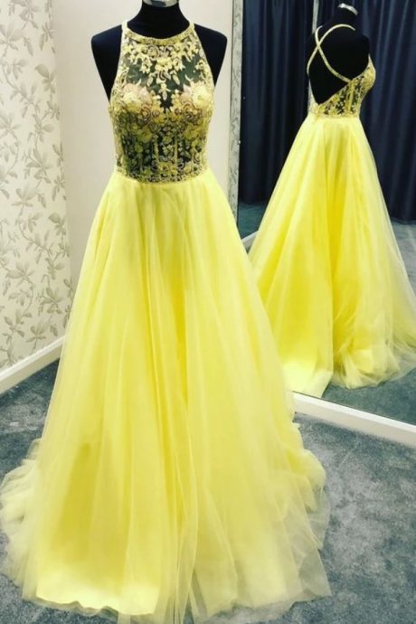 Yellow Tulle Lace Round Neck Prom Dresses,Long Open Back Prom Dress ,Evening Dress