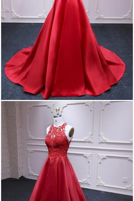 Red satin strapless long prom dresses,customize formal prom dress with lace appliqué