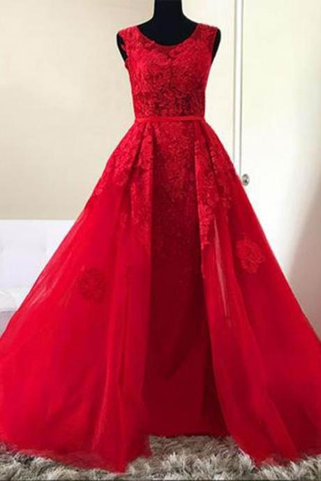 Red tulle O neck long lace A-line halter senior prom dress, red evening dress,Evening Dresses, Evening Gown
