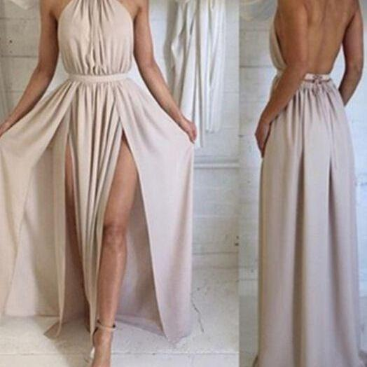 Simple Style A Line Chiffon Prom Dresses Pleat Side Slit Evening Dress Party Formal Dress Gowns