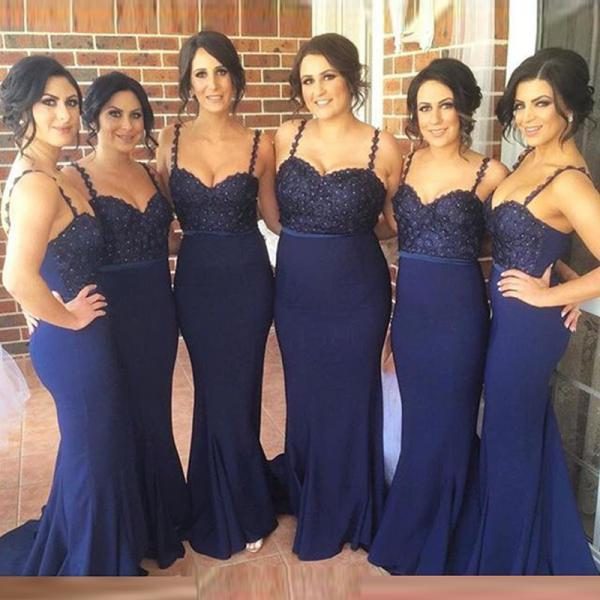 Spaghetti Straps Bridesmaid Dress,Navy Blue Lace Bridesmaid Dresses,Mermaid Bridesmaid Dresses,Custom Made Long Bridesmaid Dress Prom Gowns