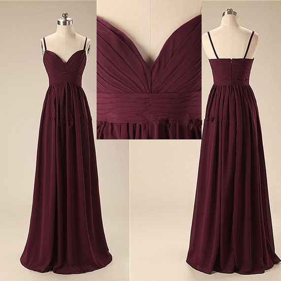 Spaghetti Straps Dark Burgundy Long Bridesmaid Dresses,A Line Sweetheart Bridesmaid Dress,Elegant Cheap Prom Dresses,Wedding Party Dress