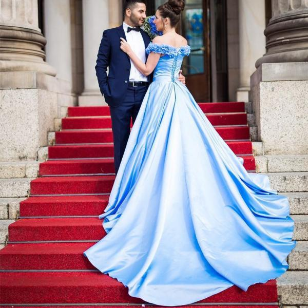 Light Blue prom dress,flower wedding dress, a line wedding gowns,elegant evening dress