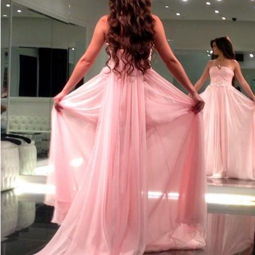 long chiffon strapless prom dresses formal evening gowns with removable train