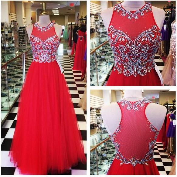 Red Tulle Prom Dresses,Long Tulle Prom Dresses,A-line Tulle Prom Dresses,Beaded Prom Dresses,See Through Formal Gowns,Long Beaded Evening Dresses,Long Party Dresses