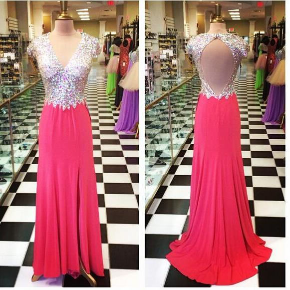 A Line Red Chiffon Prom Dresses ,High Slit Prom Dress, Sequins Evening Dress,Sexy Backless Party Dresses, Long Chiffon Prom Dresses,Chiffon Formal Gowns,V-neck Prom Dress