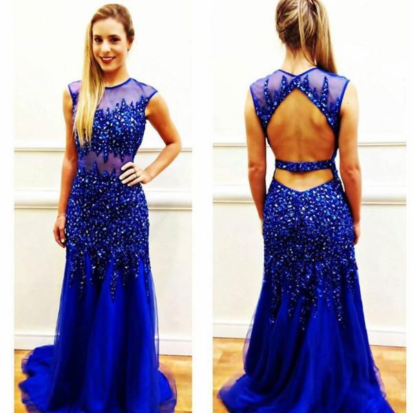 Royal Blue Beaded Prom Dress,Crystals Prom Dresses,Backless Sexy Party Dresses,Long Prom Dress,Long Formal Gowns with Crystals,Log Crystals Cocktail Dress