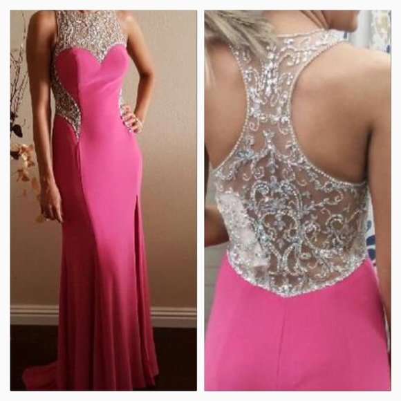 Prom Dress Sexy Cheap Mermaid Fuchsia Rhinestones Beads Sheer Back Prom Dress Formal Dress Evening Dress Party Prom Gowns