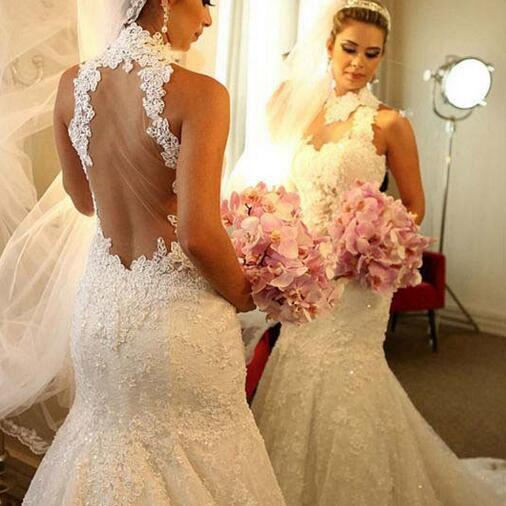 Wedding Dress, Sexy Wedding Dresses, Mermaid Wedding Dresses, White Wedding Dress, High Neck Wedding Dress, Grace Wedding Dress, Full Lace Sheer Back Wedding Dress, Hot Sale Wedding Dress