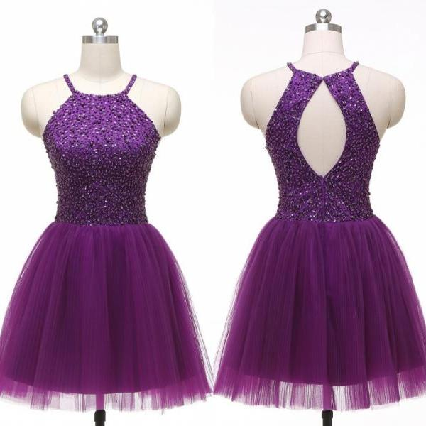 Custom Beautiful Beading Homecoming Dress, Short Purple Party Dress, Sleeveless Backless Formal Gowns,Halter Graduation Dresses