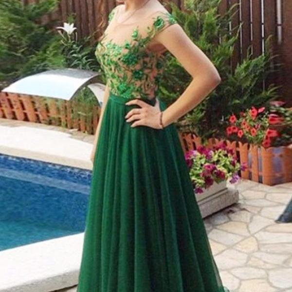 Green Tulle Lace Simple Cheap Handmade Prom Dresses,A-line Long Prom Dress,Prom Gowns.
