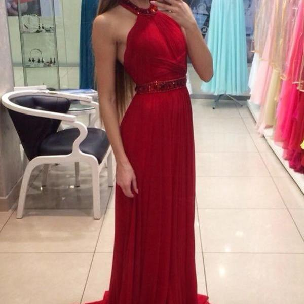 Pretty Red Long Evening Dresses,Sparkly Chiffon Prom Dresses For Teens,Formal Classy Prom Gowns