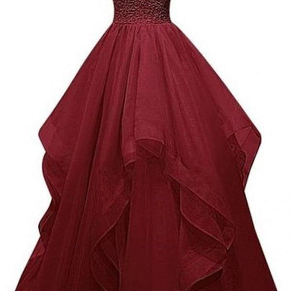 Real Charming Long Burgundy Prom Dresses,Ball Gown Beading Prom Gowns,Sparkly Prom Dress For Girls