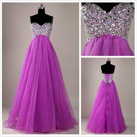 A-Line Beading Prom Dresses,Sweetheart Purple Floor-Length Evening Dresses, Real Made Prom Dresses,Zipper Evening Dresses, Charming Prom Dresses,
