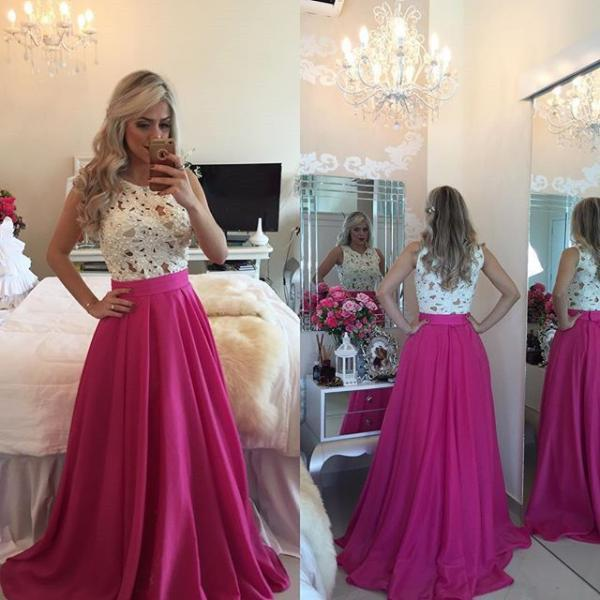 Top Selling Beading See Trough White Lace Hot Pink Long Prom Dresses,Sexy Sleeveless Prom Dress,Custom Made A-Line Prom Gown,Evening Dresses