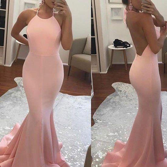 Halter Mermaid Long Prom Dress ,Open Back Evening Dress,Pink Party Dress,Cheap High Quality