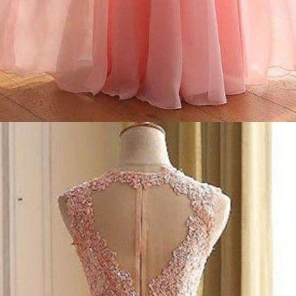 Charming Long Prom Dress, Appliques Pink Prom Dresses,Elegant Prom Dress,Long Evening Dress,Formal Gown
