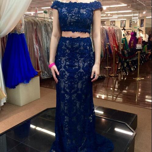 Two Pieces Lace Custom Made Prom Dresses, Floor-Length Evening Dress,Prom Dresses