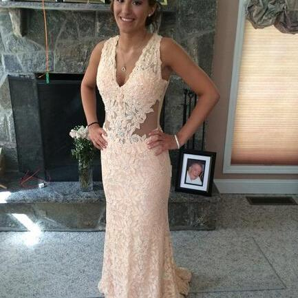 V-Neck Lace Prom Dresses, Floor-Length Evening Dress,Prom Dresses
