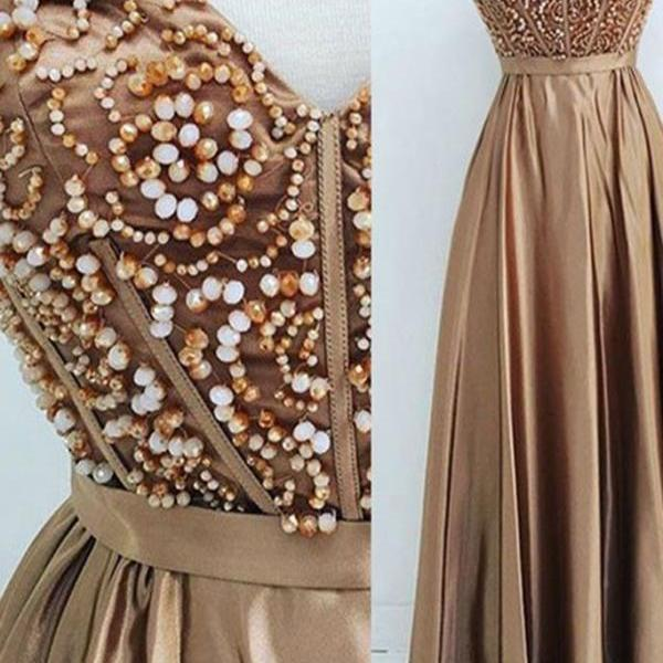 Chocolate satins sweetheart beading long dress,evening dresses for teens