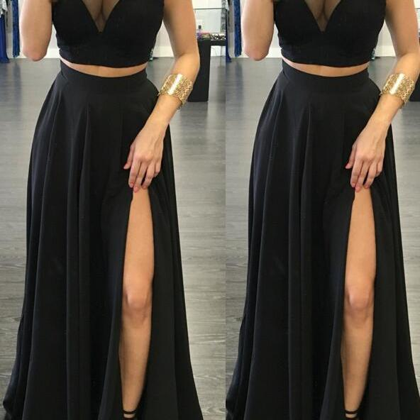 Spaghetti Straps Black Prom Dresses,Simple Two Pieces Front Split Prom Evening Gowns,Fashion Woman Dresses,Black Long Evening Dresses,Cheap Mother of the Bridal Dresses