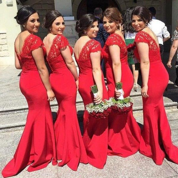 Mermaid Lace Bridesmaids Dresses With Cap Short Sleeves,Long V Neck Sexy Prom Gowns ,Cheap Formal Dress ,Wedding Party Dresses Plus Size