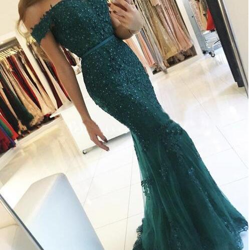 Off The Shoulder Prom Dress ,Modest Cheap Prom Dresses, Mermaid Prom Dresses, Beading Tulle Formal Evening Gowns, Party Dress