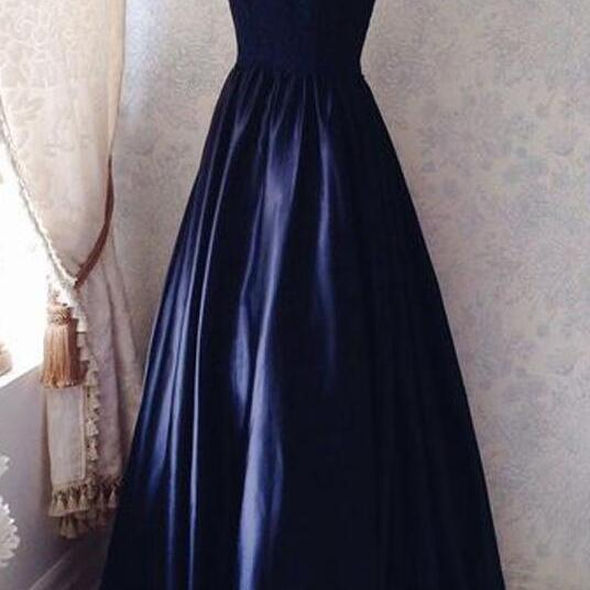 Simple V-neck Sleeveless Prom Dress,Formal Dress,Floor-Length Ruched Navy Blue Prom Dress