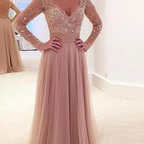 Sexy Nude Tulle Long Sleeves Prom Dress,V Neck Prom Dress With Sheer Back,Evening Dress