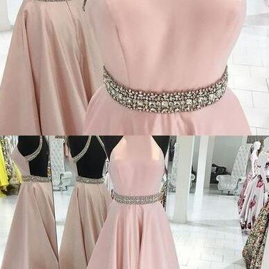 Backless Pink Beading Prom Dress,Halter Sexy Prom Dresses,Custom Made Evening Dress