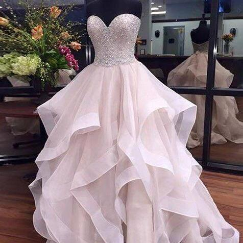Sexy White Prom Dress,Beauty Sweetheart Layered Party Dress,Beaded Prom Dresses