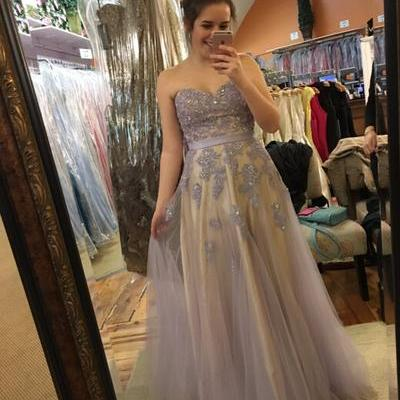 Charming Prom Dress,Appliques Prom Dress,Sweetheart Prom Dresses,Tulle Evening Dress
