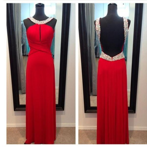 Beaded Embellished Red Satin Floor Length A-Line Formal Dress Featuring Open Back, Prom Dress