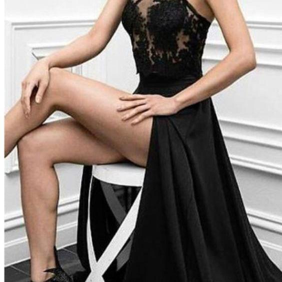Charming Prom Dress, Sexy Prom Dresses,Black Prom Dress,High Slit Evening Dress,Long Evening Dresses,Sexy Party Dress,Formal Dress,Real Made Prom Dress,