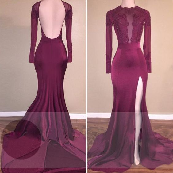 Burgundy Long Sleeve Prom Dresses,Floor Length Prom Dress, Mermaid Lace Beading Evening Gowns,Prom Dresses,Burgundy Prom Dress,Backless Prom Dress,Sexy Party Dress,Formal Dress,