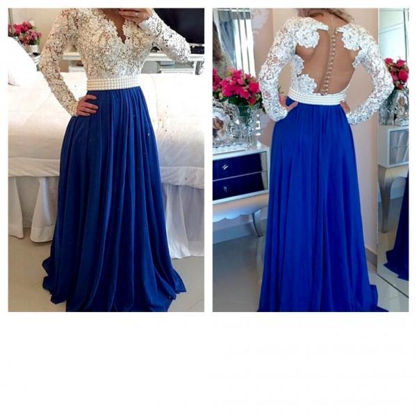 Royal Blue Prom Dresses, Ivory Long Sleeves Prom Dress, Formal Prom Gown, With Beading evening dresses, Quinceanera Dresses