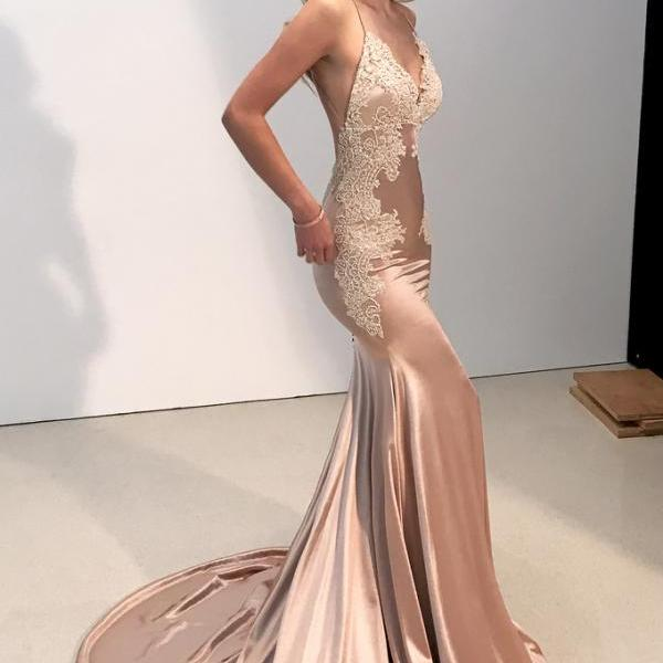 Sexy Prom Dresses,Straps Prom Dress,V Neck Prom Gown,Mermaid Evening Dresses,Long Evening Dress , Party Gowns