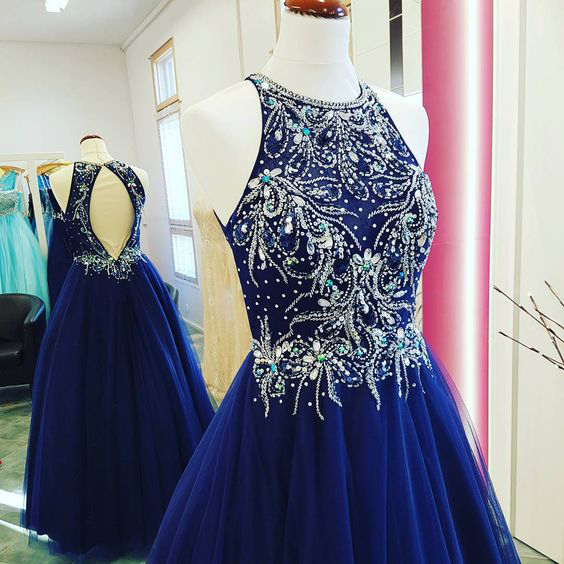 New Arrival Royal Blue Prom Dress,Tulle Beaded Halter Prom Dresses,Fashion Prom Dress,Sexy Party Dress,Custom Made Evening Dress